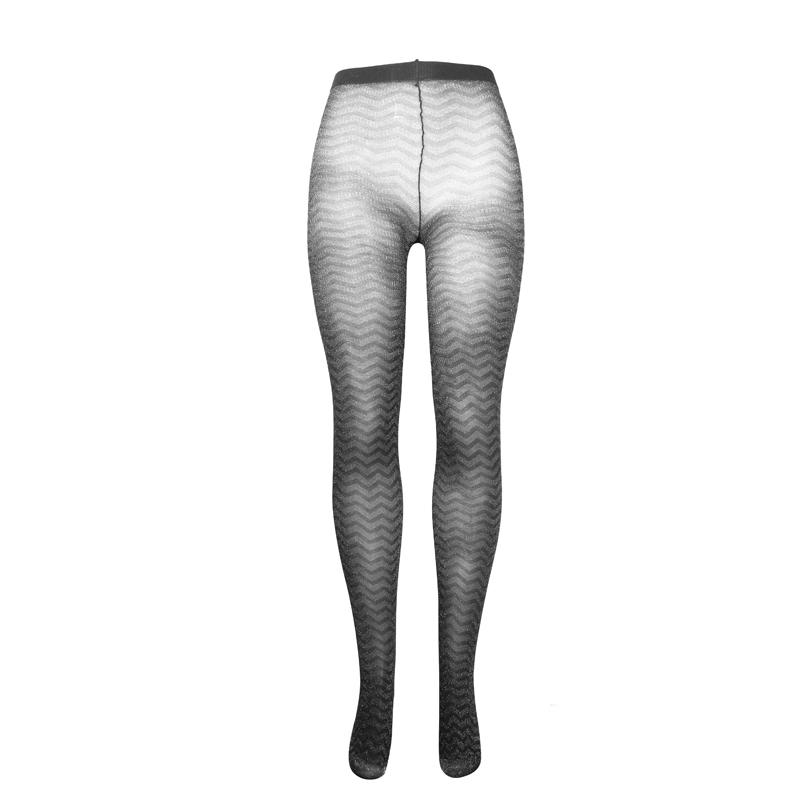 جوراب شلواری طرح دار کَش کَش - مشکی با طرح های نقره ای سایز L